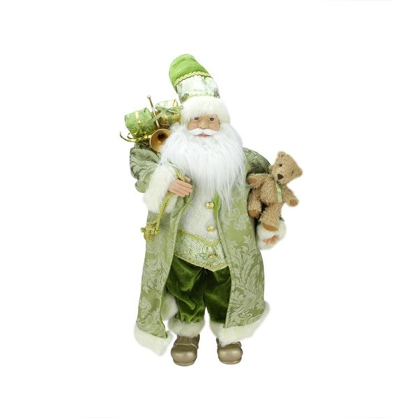 """24"""" St. Patrick's Irish Standing Santa Claus Christmas Figure with Teddy Bear and Gift Bag"""
