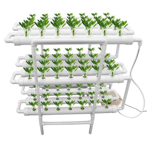 Upgraded Hydroponic Grow Kit Hydroponic Pipe Home Balcony Garden Grow Kit Plant Growing Systems - 84 Plant Sites