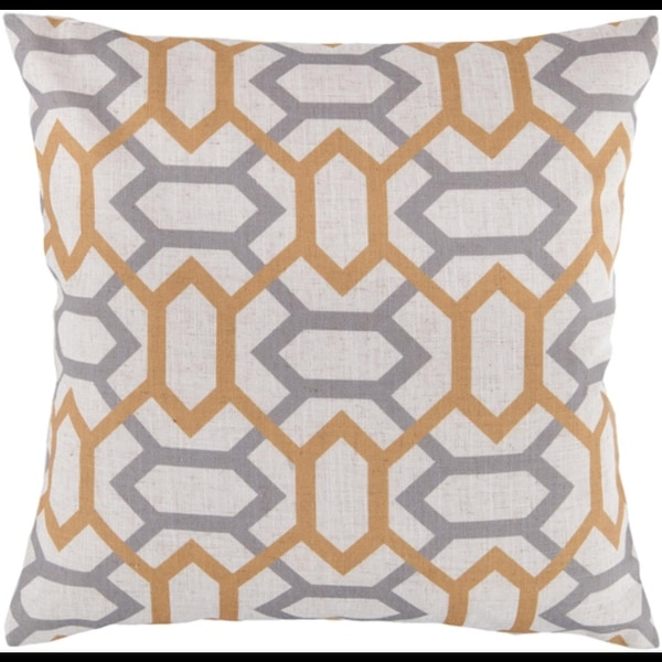 """22"""" Winter Cloud Gray and Dusty Gold Geometric Gems Decorative Throw Pillow - N/A"""