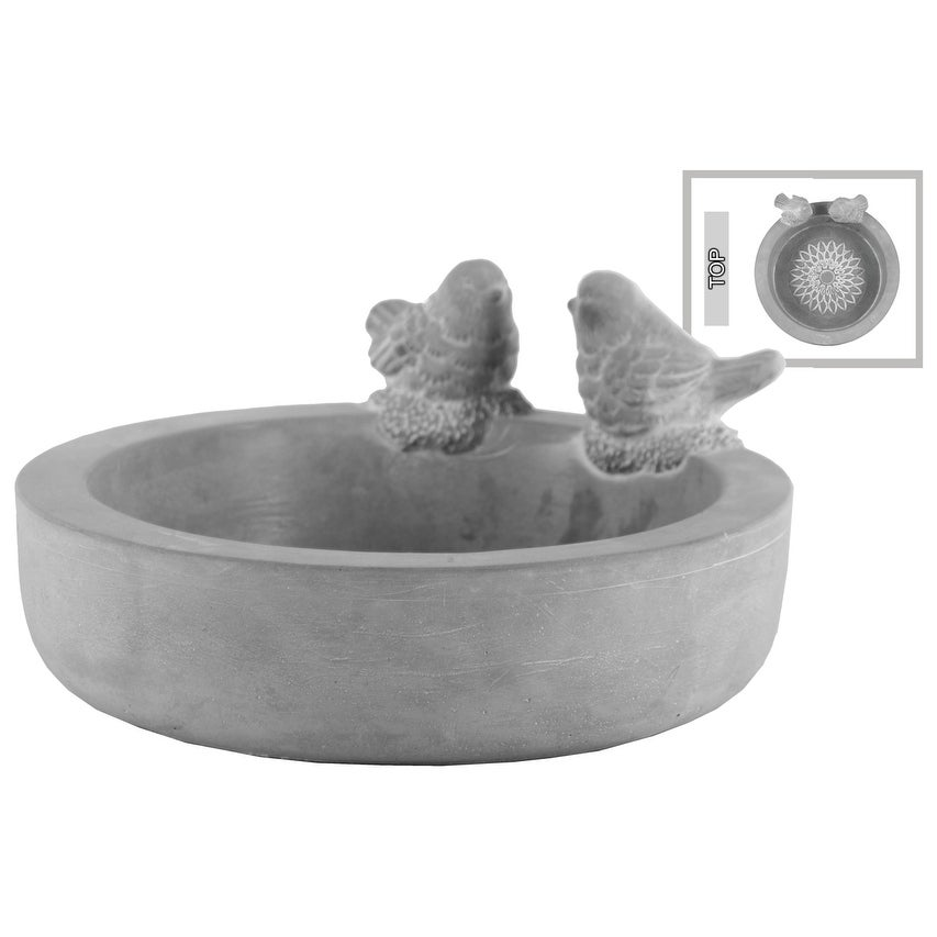Cement Round Bowl With Bird Figurine And Engraved Floral Design Inside, Gray
