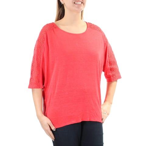 ALFANI $70 Womens New 1319 Red Lace Jewel Neck Dolman Sleeve Hi-Lo Top L