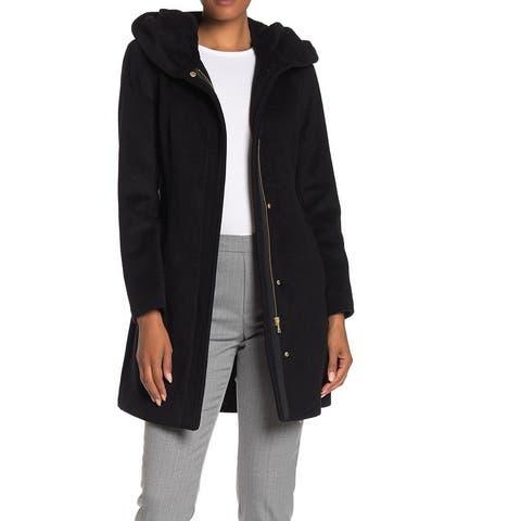 Cole Haan Women's Coat Ultimate Black Size 10 Button Full Zip Hooded