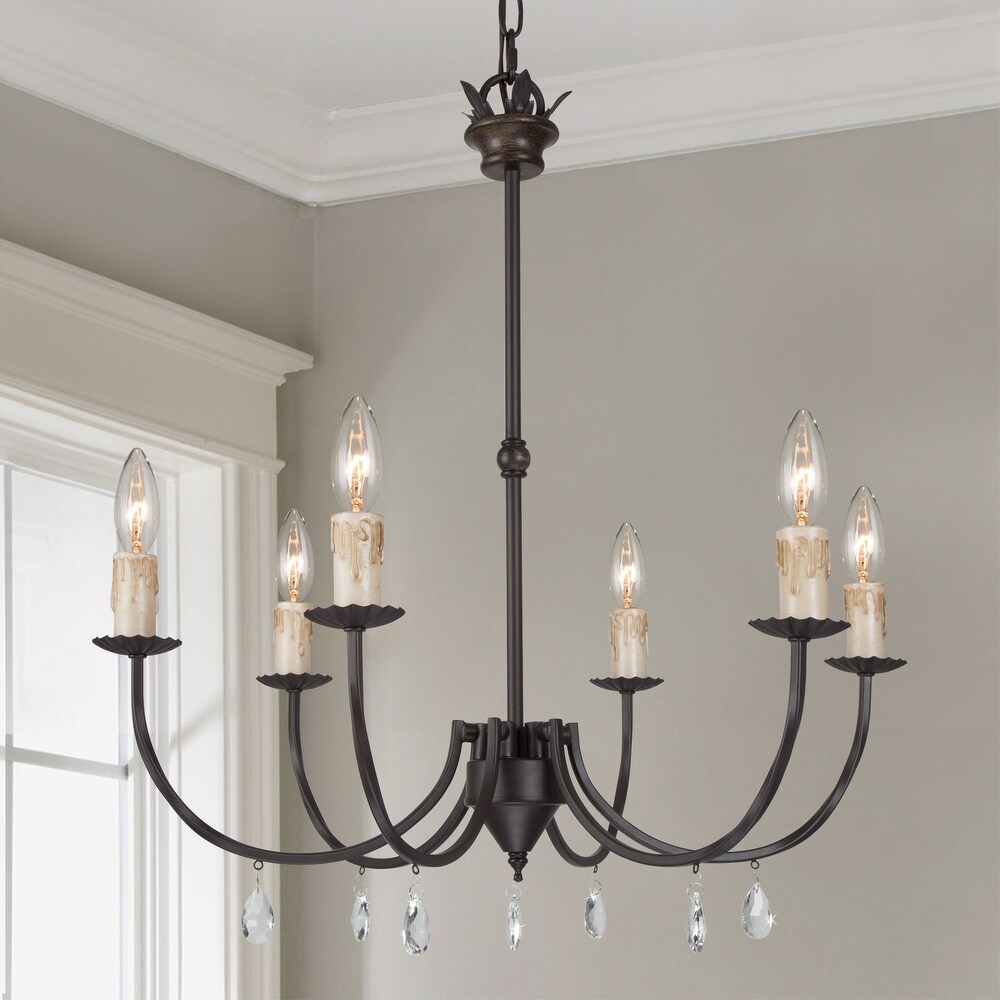 Modern Farmhouse 6 lights Chandelier Metal Candle Pendant Lighting D 22.4