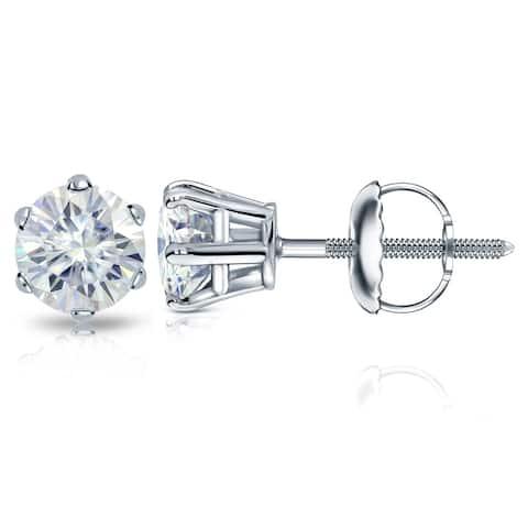 Auriya Platinum 1 1/2ctw Round Moissanite Stud Earrings - 5.9 mm, Screw-Backs - 5.9 mm, Screw-Backs