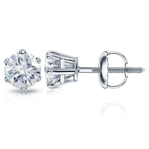 Auriya Platinum 1ctw Round Moissanite Stud Earrings - 5 mm, Screw-Backs
