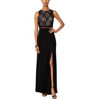 Nightway Womens Evening Dress Slit Lace