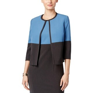 Kasper Womens Petites Blazer Color Block Long Sleeves