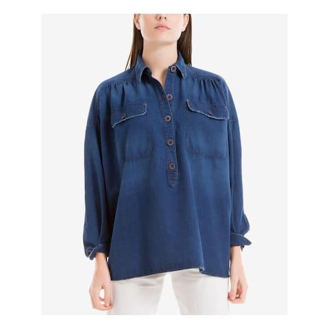 MAX STUDIO Womens Blue Denim Cuffed Collared Top Size XS