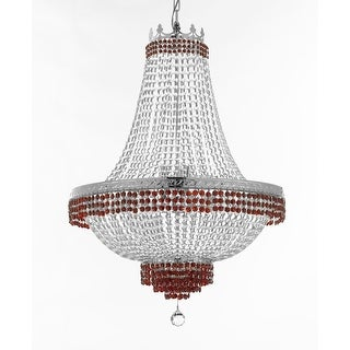 Empire Crystal Chandelier With Red Crystal