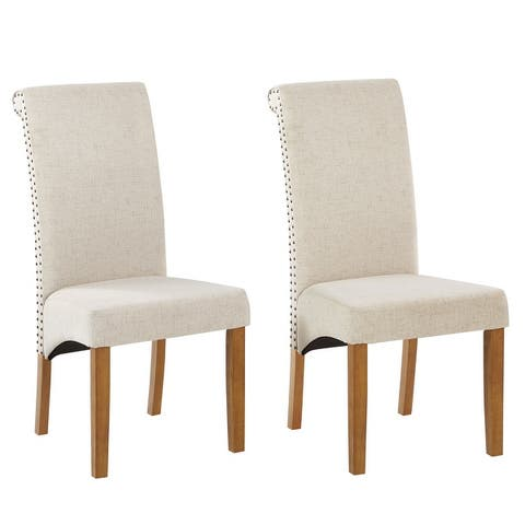Fabric Nailed Trim Dining Chair(Set of 2)