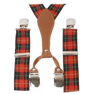 Nice Plaid Suspenders, Navy & Red - One size