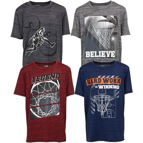 4 Pack: Boys Athletic Active Performance Workout Basketball 4 Piece Graphic Crew Neck Short Sleeve T-Shirt Top