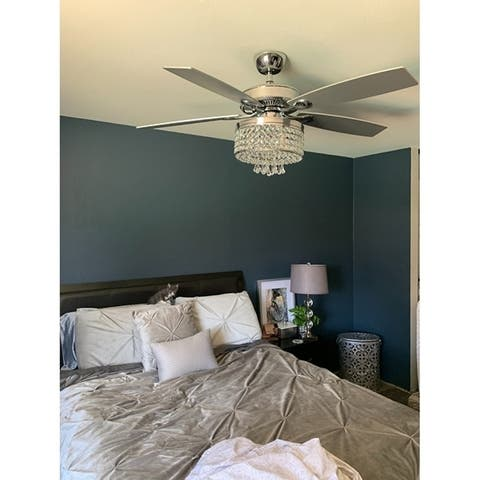 52-inch 4-Light Chandelier 5-Blade Crystal Ceiling Fan with Remote
