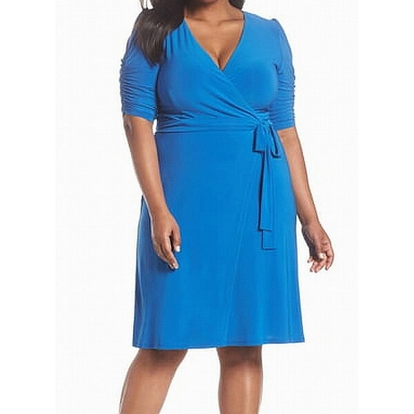 Eliza J Blue Women's Size 24W Plus Wrap Belted Sheath Dress