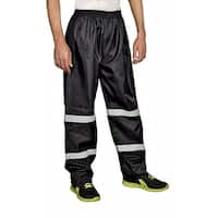 Mens Rain Pants 100% Waterproof Reflective Stripes for night time visibility - Black