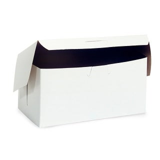 """Pack Of 250, 8 x 5-1/2 x 3"""" Solid White Bakery Boxes 1-Piece Lock Corner Box For Cakes, Pies, Cupcakes"""