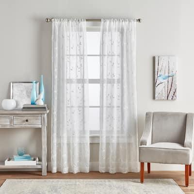Botanical Embroidery Sheer Rod Pocket Curtain Panel Pair
