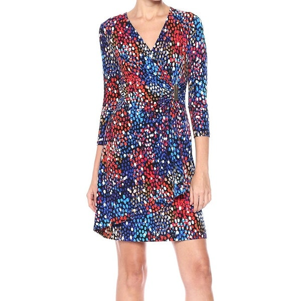 1245b85ca3f Shop Calvin Klein Blue Womens Size 4 Dot Print Faux Wrap Sheath Dress - On  Sale - Free Shipping On Orders Over  45 - Overstock - 27015488