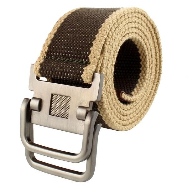 Men Sports Casual Nylon Adjustable Canvas Web Waist Belt Stripe Khaki