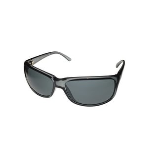 Perry Ellis Mens Sunglass PE69 1 Black Plastic Wrap, Light Smoke Lens - Medium