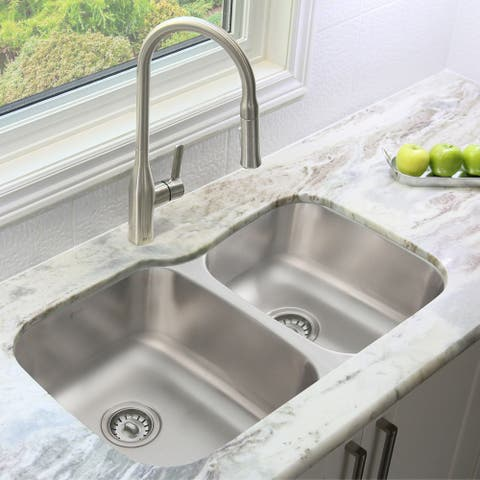 """32""""L x 20.75""""W Stainless Steel Double Basin Dual Mount Kitchen Sink with Strainers"""
