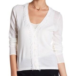 Elie Tahari NEW White Womens Size Small S Fringe-Trim Cardigan Sweater