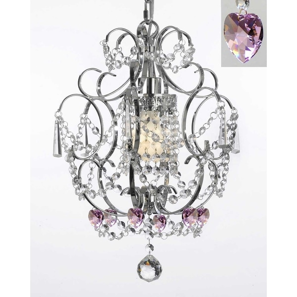 """Chrome Crystal Chandelier Lighting With Pink Crystal Hearts! H15"""" x W11.5"""" - Perfect for Kids' and Girls Bedrooms!"""