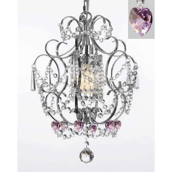 Chrome Crystal Swag Plug In Chandelier Lighting With Pink Crystal Hearts - 14' Feet Of Hanging Chain And Wire