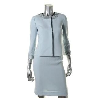 Tahari ASL Womens Petites Ralph Embellished 2PC Skirt Suit