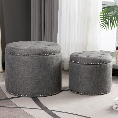 Oscar Upholstered Storage Ottomans, Textured Charcoal (Set of 2)