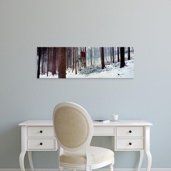 Easy Art Prints Panoramic Image 'Lookout tower in a snow covered forest, Schwarzwalder Hochwald, Germany' Canvas Art