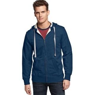 Club Room Hooded Full Zip Terry Cloth Sweatshirt Tsunami Blue Large L