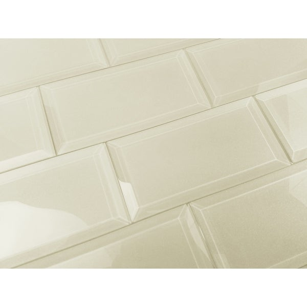 "Miseno MT-ONLFEG0306-CE Frosted Elegance - 3"" x 6"" Rectangle Wall Tile - Glossy Visual - Beige"