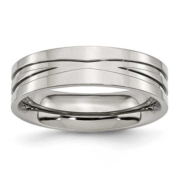 Stainless Steel Grooved 6mm Polished Band