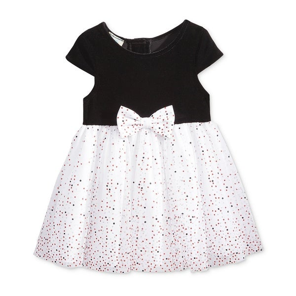 Marmellata Baby Girls Velour Dot Mesh Party Dress