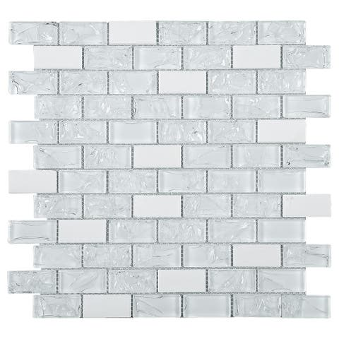 "TileGen. Crushed 1"" x 2"" Crackle Glass and Stone Mosaic Tile in White Wall Tile (10 sheets/9.6sqft.)"