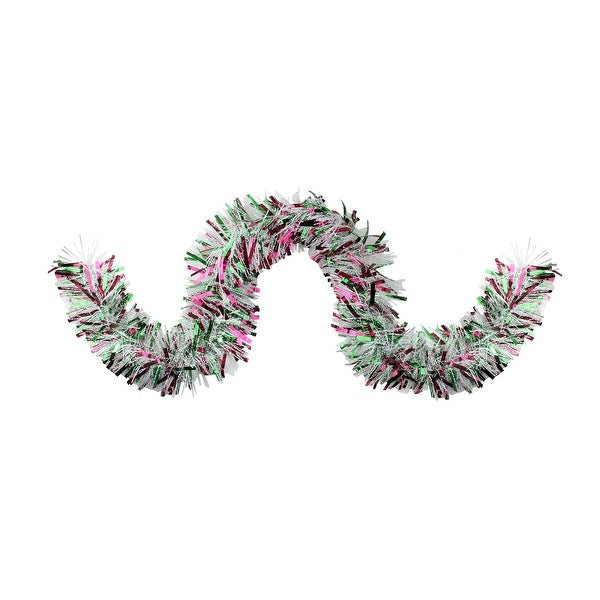 10' Deluxe Straight Snowy Red and Green Christmas Garland