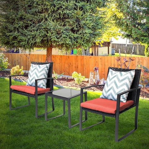 Lunar Outdoor 3-Piece Bistro Set Black Wicker Furniture-Two Chairs with Glass Coffee Table