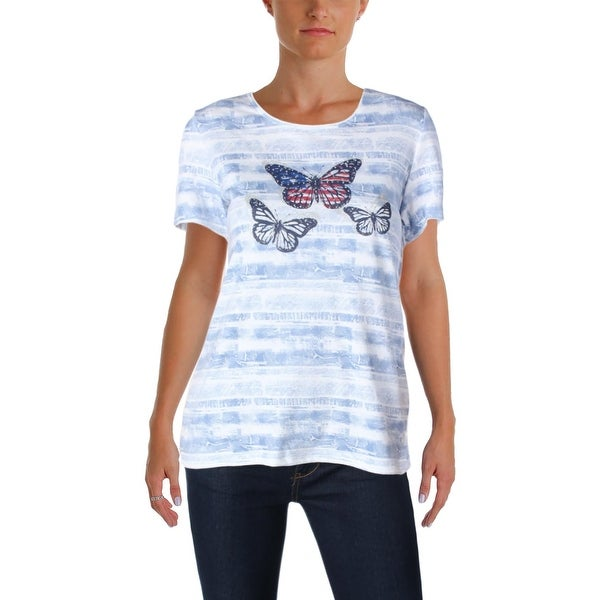 1fda55a7e Shop Karen Scott Womens Flutter Flag T-Shirt Printed Embellished ...