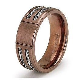 7.0mm Rose Gold Titanium Ring with Stainless Steel Cables (Sizes 7-12)