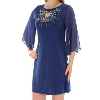 Womens Blue Kimono Sleeve Mini Shift Cocktail Dress Size: L