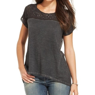 DKNY Jeans Womens Pullover Top Slub Sequined
