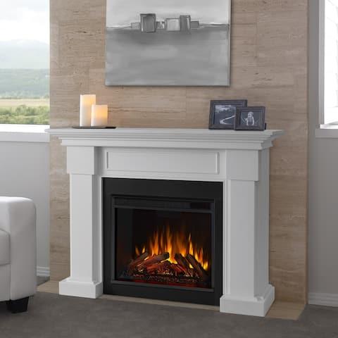 Hillcrest White Electric Fireplace - 48.4L x 13.9W x 38.6H