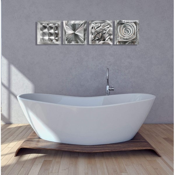 Statements2000 Silver Metal Wall Art Accent Sculpture Modern Decor by Jon Allen (Set of 4) - 4 Squares