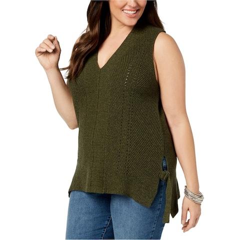 525 America Womens Sleeveless Tunic Sweater, Green, 1X