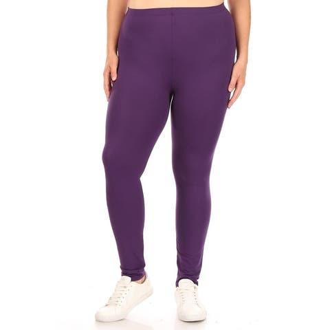 Women's Plus Size Elastic Band Comfy Workout Leggings Bottom Pants