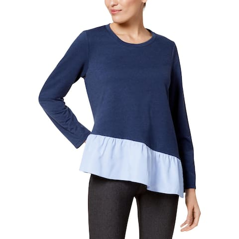 John Paul Richard Womens Pullover Top Asymmetric Layered Look