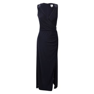 Patra Women's Beaded Surplice Jersey Gown - Navy