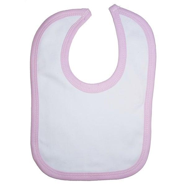 White Interlock Bib Pink Binding - Size - One Size - Girl