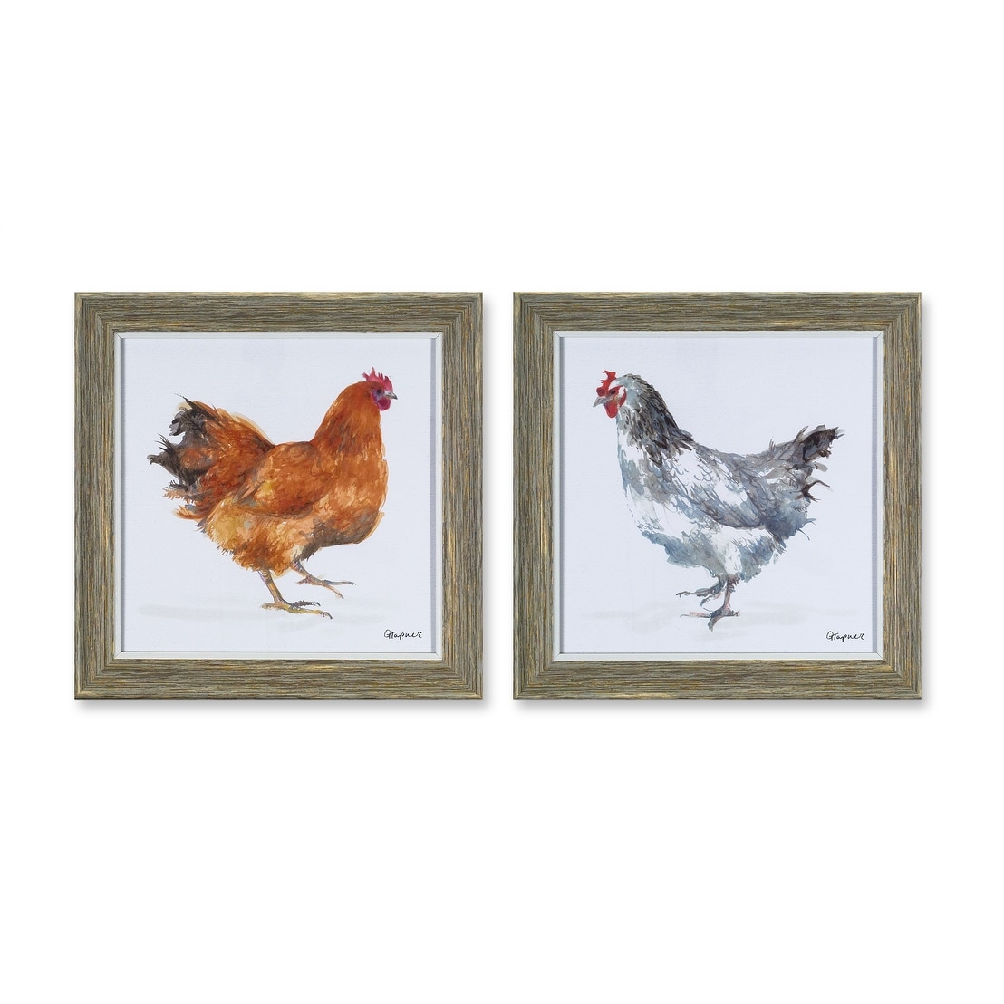 Set Of 4 Framed Chicken Print 10 Overstock 27453045